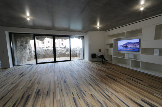 The living room of the luxurious ecological Villa Troglodyte, based on energy saving and the exploitation of natural energies is pictured in Monaco