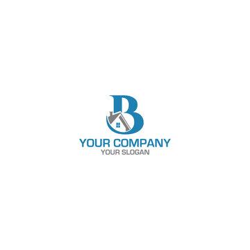 B Home Construcion Logo Design Vector