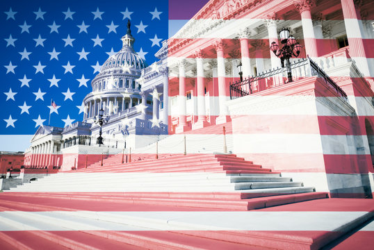 Abstract overlay of American flag against the Washington DC, USA skyline at Capitol Hill