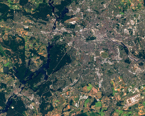 Satellite image of Berlin and Potsdam taken on June 6, 2018. Contains modified Copernicus Sentinel data 2018.