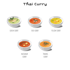 Thai curry set, vector graphics on a white background