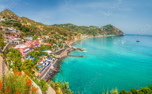 Wall mural Landscape with Sant Angelo village and Maronti beach, coast of Ischia, Italy