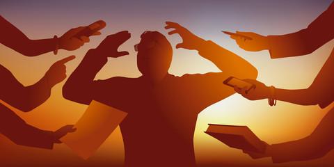 Concept du surmenage dans l'entreprise, avec un homme débordé qui craque face à la surcharge de travail, symbolisé par ses collaborateurs qui le sollicite de tous les côté.