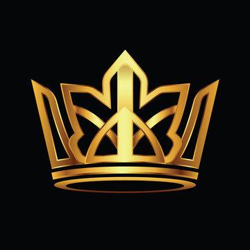 Crown modern gold logo vector