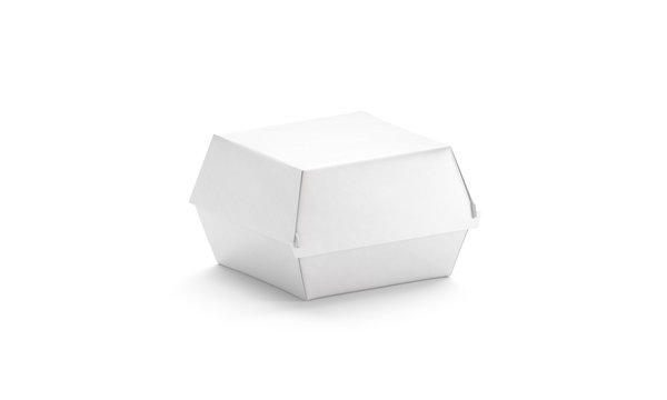 Blank white burger box mockup, isolated, side view, 3d rendering
