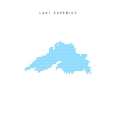 Vector Blue Wave Pattern Map of Lake Superior. Wavy Line Pattern Silhouette of Lake Superior