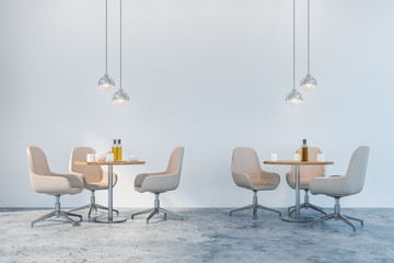 White chairs dining room or cafe interior