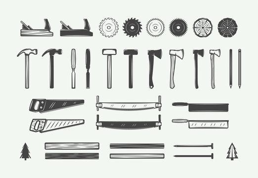 Set of vintage carpentry, woodwork design elements. Can be used for labels, badges, emblems and logo. Vector illustration. Monochrome Graphic Art.