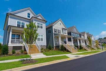 Street of suburban residential homes