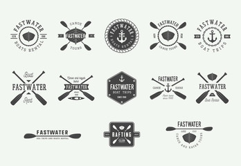 Set of diving logos, labels and slogans in vintage style. Illustration. Graphic Art. Vector Illustration.