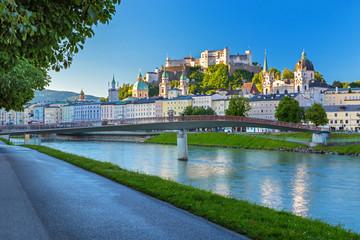 Morning view on Salzburg skyline with Festung Hohensalzburg in the summer, Salzburg, Austria