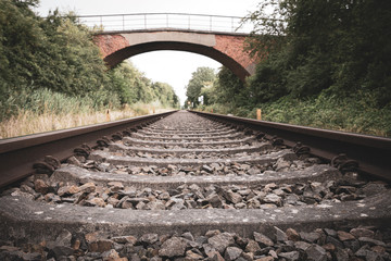 old Rail tracks lead to the horizon