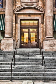 Entrance to old courthouse in Palm Beach County, Florida, USA.