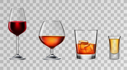 Vector illustration of alcohol glasses
