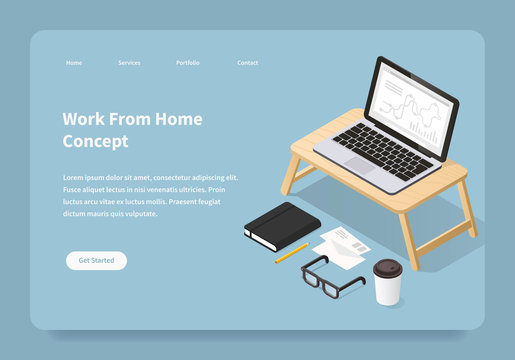 Work From Home Concept Landing Page