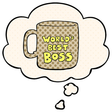 worlds best boss mug and thought bubble in comic book style