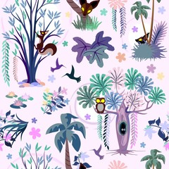 Zelfklevend Fotobehang Draw Enchanted Pink Jungle Seamless Pattern Vector Textile Design