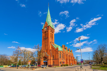 Bydgoszcz, Poland - Front view of the St. Andrew Bobola Church at the Plac Koscieleckich square in the historic old town quarter Fototapete
