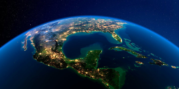 Detailed Earth at night. The eastern part of India, Bangladesh, Nepal, Bhutan, Myanmar, west of Thailand