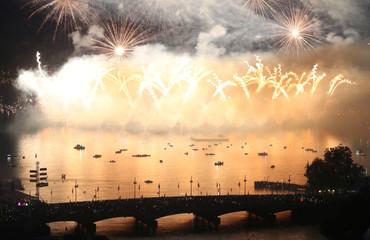 Fireworks explode during the Zueri Faescht festival over Lake Zurich in Zurich