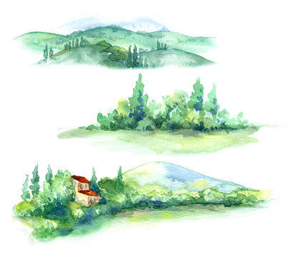Watercolor Fragments of Rural Scene with Hills  and Trees