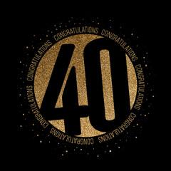 Congratulations number 40 birthday anniversary glitter circle design