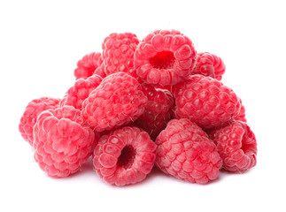 Delicious fresh ripe raspberries on white background