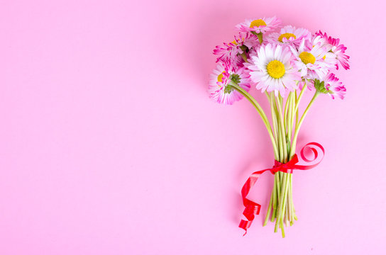 colorful Small bouquet of tender daisies. Photo