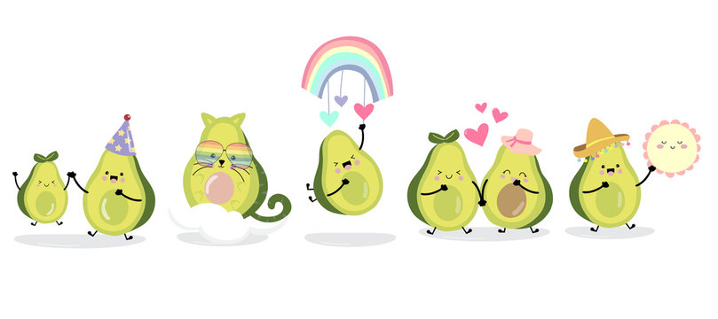 Cute avocado character with friend. Vector illustration for birthday invitation,postcard and sticker
