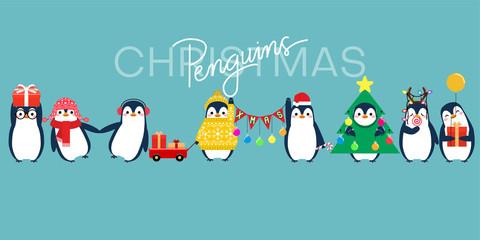 Christmas penguin characters. Penguins cartoon vector illustration.