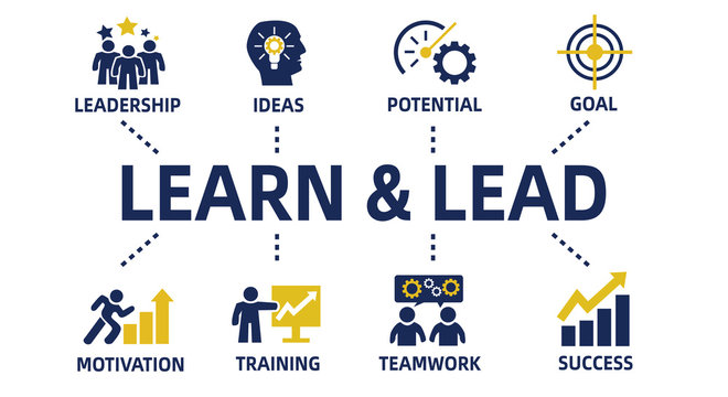 learn and lead concept chart with icons and keywords