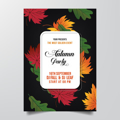 autumn party flyer template vector
