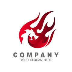 Dragon logo with a fire design illustration, dragon and fire , comet icon