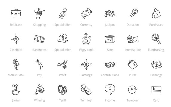 Money and finance. Set of icons. Drawn by hand. Line style hand drawn sketched.