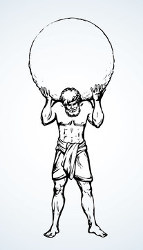 Atlas keeps the earth on their shoulders. Vector drawing silhouette