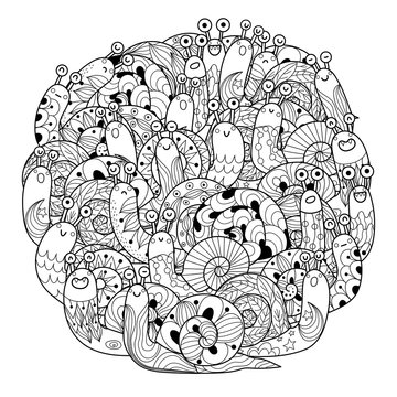 Funny snails circle shape coloring page for adults and kids