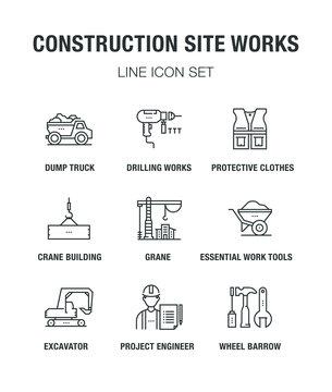 CONSTRUCTION SITE WORKS LINE ICON SET