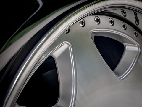Alloy wheel detail close up, abstract