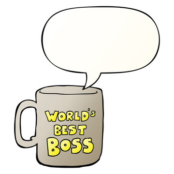 worlds best boss mug and speech bubble in smooth gradient style