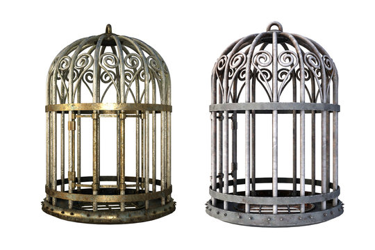 Pair of vintage cages isolated on white, 3d render.