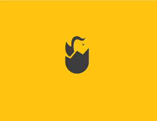 Creative abstract logo chained in egg minimalism