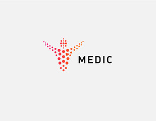 Creative abstract logo man and circles medical center health minimalism