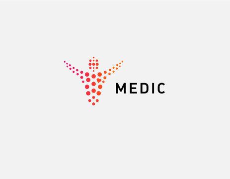 Creative abstract logo man and circles medical center health minimalism