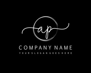 AP Initial handwriting logo vector