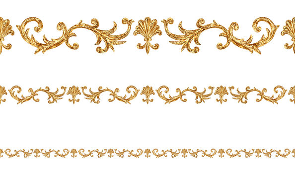 Baroque style golden ornamental segments seamless pattern. Hand drawn gold border frame