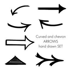 curved arrow and chevron set hand drawn