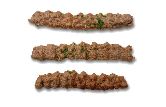 Kebab, traditional turkish, greek meat food, isolated on white background