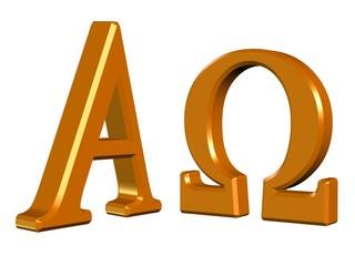 Alpha und Omega, Symbole vor weißem Hintergrund