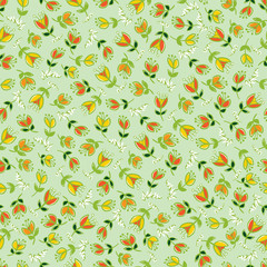 Vector green colorful hand drawn tulip flowers repeat pattern. Suitable for gift wrap, textile and wallpaper.
