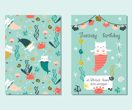 Set of funny birthday invitation cards with cat mermaid. Kids fantasy party cards. Vector hand drawn illustration.
